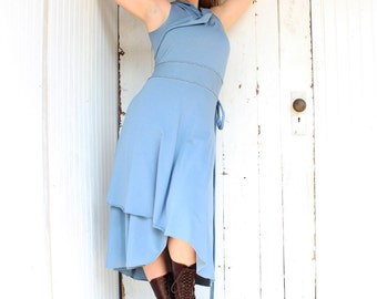 Solstice Wrap Dress - Organic Fabric Made to Order - Many Colors to Choose From - Summer Eco Fashion