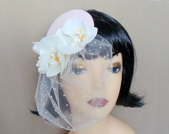 bridal fascinator pale pink in orchids