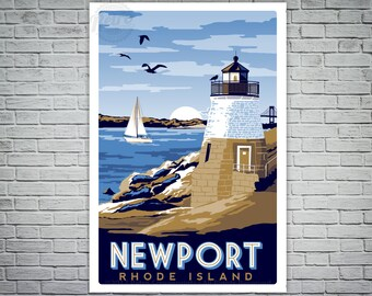 Newport Rhode Island Sailboat Lighthouse Vintage nautical Screen print poster