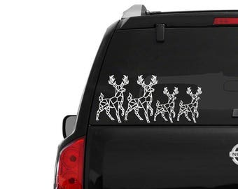 Elk family stickers • car window decal • fast shipping • geometric elk family decals • elk decals elk stickers