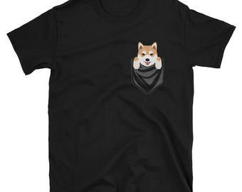 Funny Shiba Inu Pocket T-Shirt Cute Dog Gift