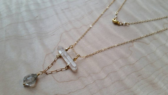 Double terminated quartz crystal necklace with large herkimer diamond detail