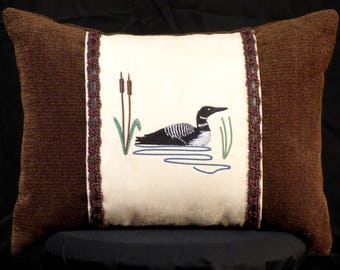 New Embroidered Brown & Cream Loon Pillow, New 12 x 16 Insert — Item 228