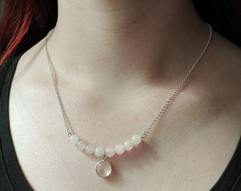 Silver necklace with soft pink rose quartz beads and Pendant