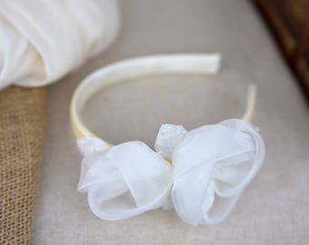 First Communion headband White Flower Girl Hair Accessories Lace Organza Wedding Girl Party Hair Accessory