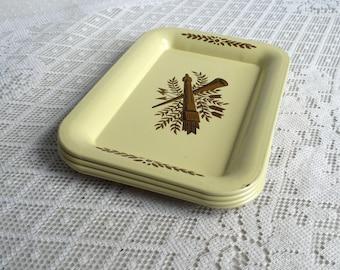 Mid Century Modern Metal Yellow Coasters / Vintage Tin Tip Trays