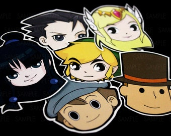 Videogames Stickers | Zelda, Phoenix Wright and Layton