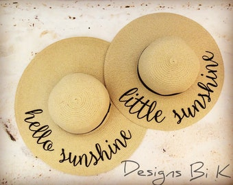 Mother daughter straw hats, Mommy and me set, Mother and daughter matching set, Personalized straw hats, Hello sunshine and little sunshine
