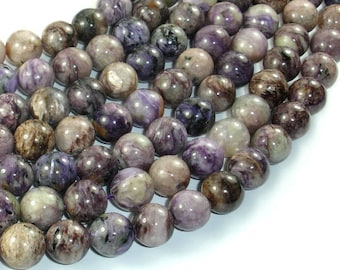 Genuine Charoite, 10mm (10.3mm) Round Beads, 16 Inch, Full stand, Approx 40 beads, Hole 1 mm (187054802)