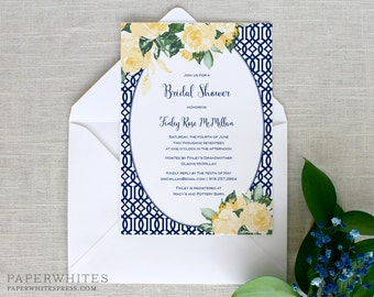 Floral Bridal Shower Invitations, Yellow Roses Bridal Shower Invitations, Rose Garden Bridal Luncheon Invitations, Printed Cards