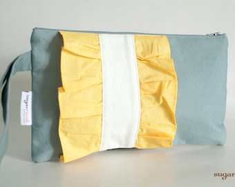 Gray Clutch with Yellow Ruffles with Strap