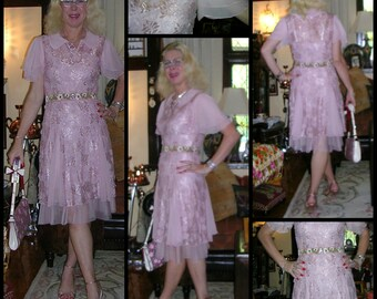 Vintage 1990's Gatsby style soft pink lace & chiffon butterfly sleeve floral sashed tea dress by Alannah Hill (made in Australia) / size: 10