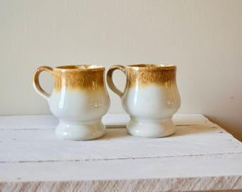 Set of Two Vintage Mugs || Retro Cups