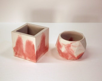 Pair of modern marbled concrete pots for succulents, cactus, candle holders, office supplies, brushes, pens, and pencils