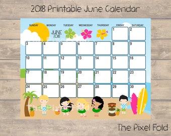 SALE Printable June 2018 Calendar   Cute Planner   Luau Surfers Beach Hawaii