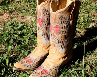 Corral Vintage, Winged, Heart, Inlay Leather, Boots, Cowboy, Corral, Cowgirl, Tan, Red, Blue, Shoes, Angel, Heel, Western, Peace Sign