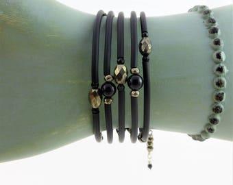 Pyrite bracelet, faceted pyrite, memory wire bracelet, gemstone bracelet, black rubber tubing, black onyx bracelet, silver jewelry, handmade