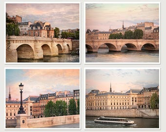 Set 4 art prints, Large Paris wall art, Set of four Paris cityscape photography Oversized city art, Paris room decor Pont Neuf 16x20 prints