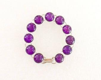 "Violet Purple, Fused Dichroic Glass Bracelet, 12mm Cabochons, Cabs, Art, Jewelry, Measures 7"", Plum, Vibrant"