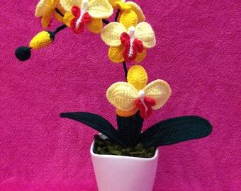 Crochet Yellow Orchid
