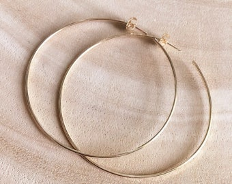 Gold Hoop Earrings Medium Simple Thin 14k Gold Filled Round Hoops with Post