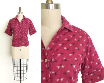 vintage 1950s top | 50s thunderbird novelty blouse