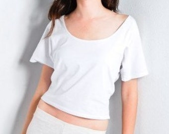 Womens Crop Top Cotton Shirt Made in USA, Short Shirts, High Waist shirts, Crop Shirts, Mini Tees, Short Tops, Crop tops, White Tops, Cotton