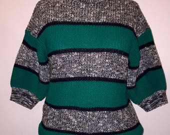Vintage 1980s 80s Green Black White Striped Short Sleeve Spring Sweater Acrylic Size Small Medium