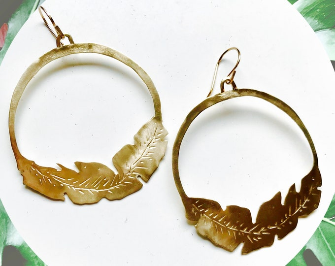 Featured listing image: F l o r a // Hand cut Palm Leaf Brass Earrings