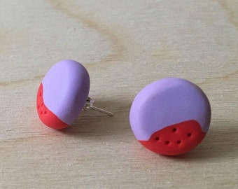 Lilac and Red 5 Dots Stud Earrings