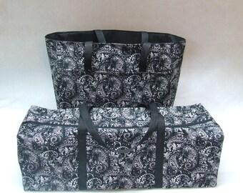 Cricut Explore Air 2 Carrying Case /Cricut Maker /Silhouette Cameo 3 Tote /Brother ScanNCut /Black, White Paisley Print fabric/Accessory Bag