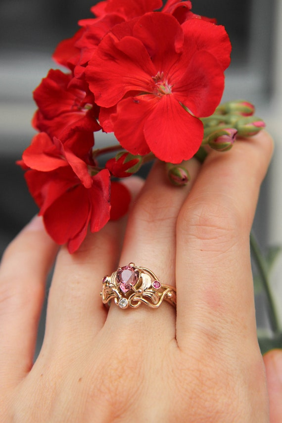 Custom engagement ring in art nouveau style with pink tourmaline, rubies and diamond, nature inspired proposal ring, unique rose gold ring