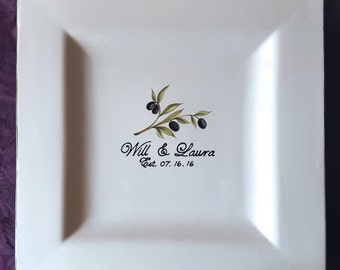 Unique Wedding Guest Book Alternative Wedding Plate Guest Book Plate Signature Plate guestbook Personalized Guest Book -  Olive Branch
