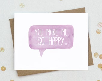 Mother's Day card for wife, Relationship card, You Make Me So Happy, Romantic Card for wife, Anniversary Card - LV10