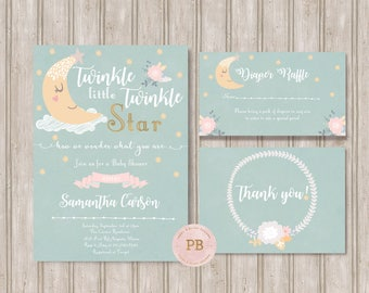 Twinkle Twinkle Invitation, Twinkle Twinkle Baby Shower Invitation, Twinkle Twinkle Birthday Invitation, First Birthday Invitation