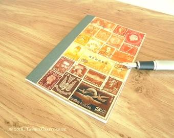 Pocket Sunset Journal • Original Postage Stamp Art Planner Notebook