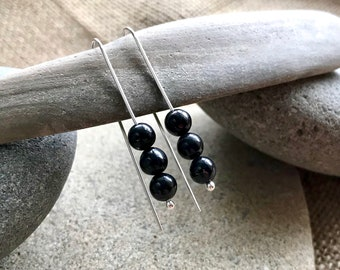 Shungite Earrings, EMF, EMF Earrings, Shungite, EMF Protection, Threader, Functional Jewelry, One Continuous Wire, Fine Silver, Beautiful