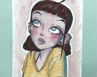 Original Watercolor Painting of a Girl