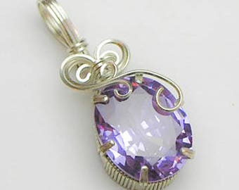 Lavender Blue CZ Swirls and Curls Silver Filled Wire Pendant