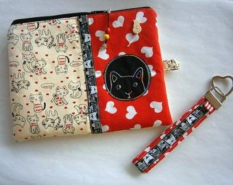 Kosmetiktasche  mit tollen Details und passendem Schlüsselband,Katzen,Herzen, Stickmotiv, Zakka style, handmade, Unikat