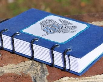 "Tropical Fish Journal and Sketchbook, handmade, 4 x 6"" coptic bound, original ink art"