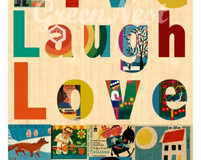 Live Laugh Love - vintage 70s safety matches  collage poster print on wooden background
