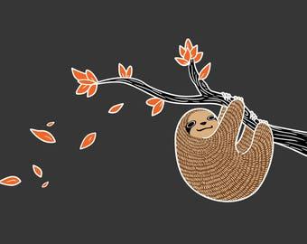 Sloth in Autumn A3 Print