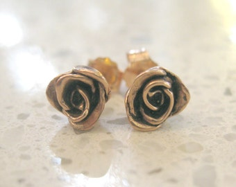 SOLID 10 Karat Rose or Yellow Gold Rose Flower Stud Earrings