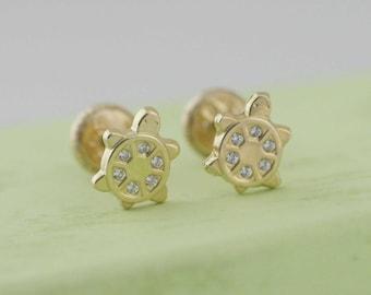 14K Gold Turtle Stud Earrings, Gold Turtle with Cz Stud Earring, Gold Turtle Earring, 14k Gold Screw Back Earrings, Baby Earrings, Girl Stud