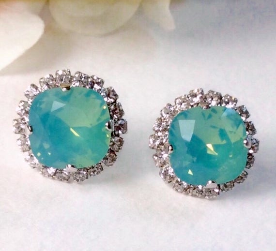 Swarovski Crystal 12MM Cushion Cut Stud Earrings With Halo - Gorgeous Earrings - Pacific Opal With Crystal Halo - SALE 35. - FREE SHIPPING