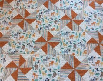 Handmade baby jungle quilt.