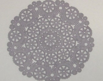 10 dip dyed LIGHT GRAY paper doilies, 8, 10 or 12 inch, medallion style