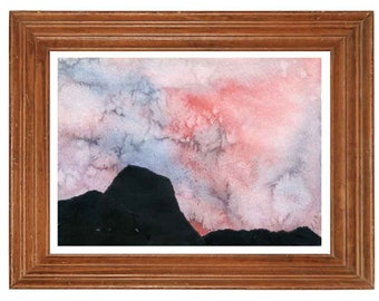 Abstract Landscape, Original Watercolor Painting, collage, Abstract Paintings, Watercolor, 40th Anniversary gift for parents, Wall Decor