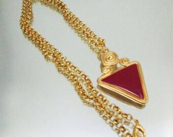Vintage Red Enamel Gold Tone Necklace